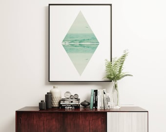 Geometric Wall Art, Modern and Minimalist Ocean Art  - Parallel Waves