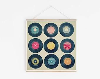 Vinyl Record Art, Music Wall Art, Retro Wall Decor - Vinyl Collection