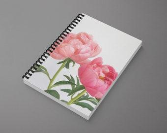 Flower Spiral Notebook - Peonies