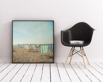 Beach Print, Deck Chair Print, Ocean Art - A Sea View