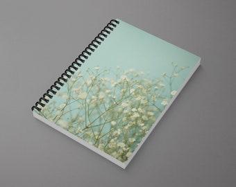 Flower Spiral Notebook - Baby Blue