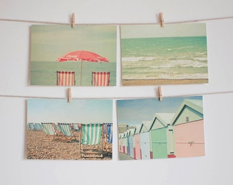 Postcard Set, Seaside Art, Beach Photography, Pastel Colors, Affordable Art, Beach Huts, Deck Chairs - Vacation