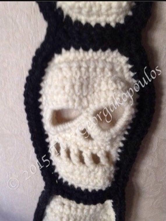 Skull Scarf Halloween Crochet Pattern Skull Crochet Pattern Etsy