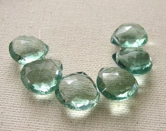 Teal Green Fluorite Faceted Hearts 11 x 11mm Top Quality - 6 Gemstone Briolette Beads