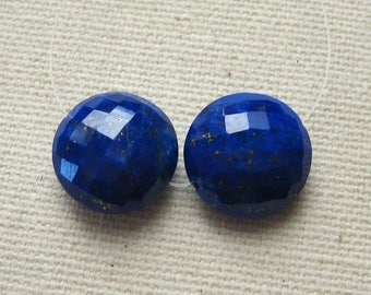 Blue Lapis Faceted Coin Beads 11.75mm - Matched Gemstone Pair