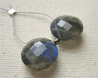 Blue Labradorite Faceted Coin Beads 11.5mm Top Drilled - Matched Gemstone Pair