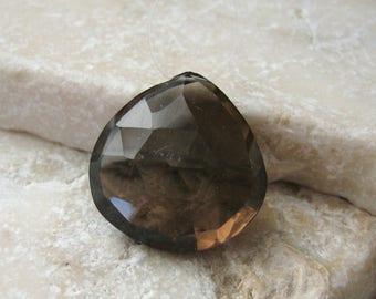 Large Chocolate Quartz Faceted Heart Bead 18 x 19 mm - Gemstone Focal Pendant