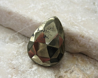 Faceted Pyrite Focal Teardrop Bead 18.25 x 13.5mm - Gemstone Focal Pendant