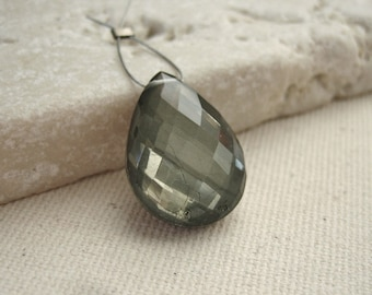 Faceted Crystal Quartz over Pyrite Teardrop Bead 12.5x17.5mm - Gemstone Focal Pendant