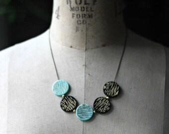 destash Mint Green and Black Necklace, Modern Circles, Retro Mod, Mid Century, Mad Men, Aqua Green, Gold Brass, Gold Etched