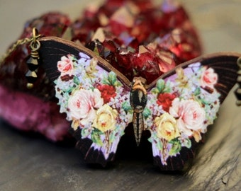 destash Dark Floral Butterfly Pendant, Black Moth Necklace, Pink, Red, Yellow Flowers