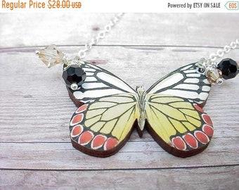 destash Butterfly Necklace  Black, Yellow, Red, White Moth Pendant  Black Crystal Dangles