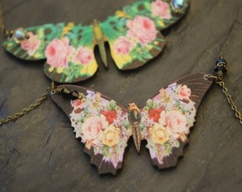 destash Green Floral Butterfly Pendant, Black Moth Necklace, Pink, Yellow Flowers