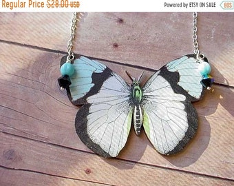 destash Moth Necklace Giant Moth Butterfly Pendant Turquoise Black White