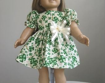 Doll Clothes Fit American Girl Dolls, Off White Shamrock St. Patrick's Day Dress Fits American Girl Dolls
