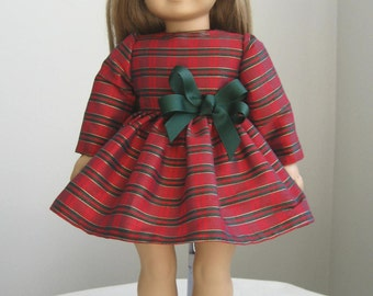 Doll Clothes Made to fit AMERICAN GIRL DOLLS, Plaid Christmas Dress Fits American Girl Dolls