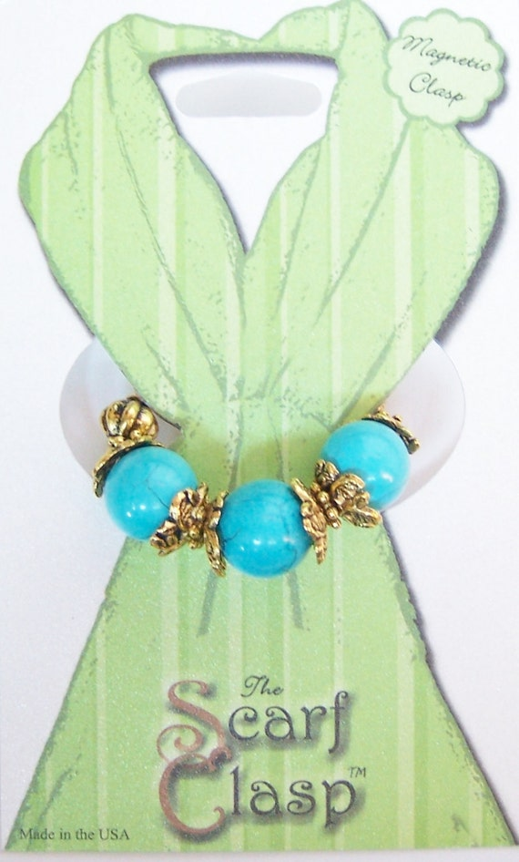 Scarf Clasp Clip Holder Turquoise Like Beads Magnetic Clasp for Scarfs Shawl
