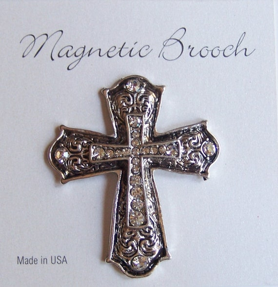 Magnet Brooch Religious Cross Clip Clasp Pin Serenity Prayer Silver Tone Metal