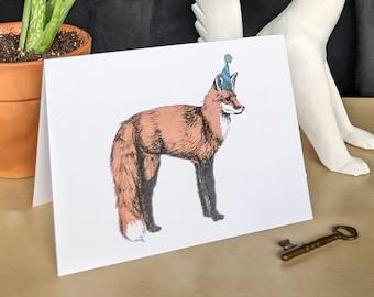 "Fox Birthday Card - 5x7"" with envelope"