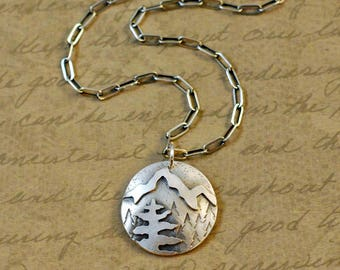 "Sterling silver, 7/8"", pendant, sawed, soldered, mountains, trees, nature, camping, hiking, outdoors, handcrafted oxidized, rustic, chain"