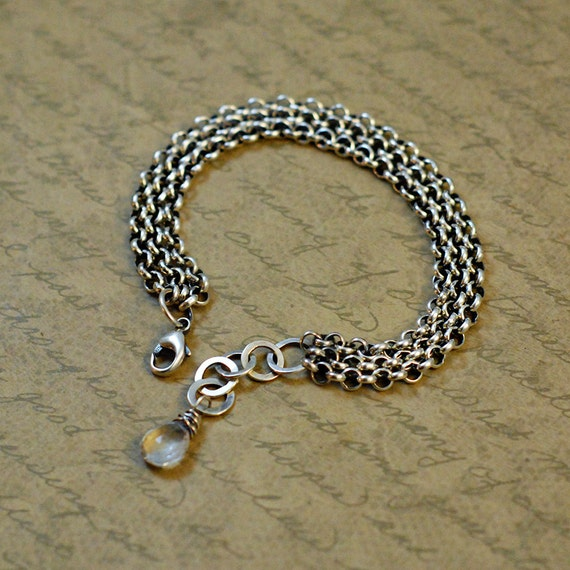 crystal quartz oxidized bytwilight rustic chain extension lobster clasp Sterling silver 12 strand long box cable chain bracelet