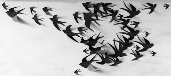 sc 1 st  Etsy & 50 3D Bird Wall Art Circle Burst