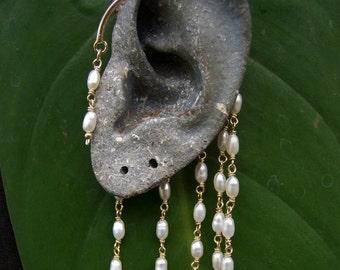 14K Gold-Filled Ear Wrap,  Ear Cuff with Pearls , Gold Ear Cuff