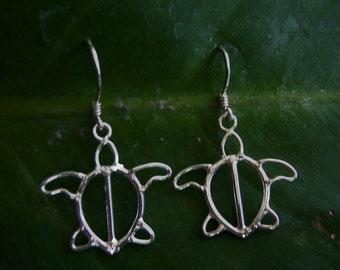 Turtle Earrings, Silver Sea Turtle Earrings, Honu Earrings, Sterling Silver Turtle Earrings