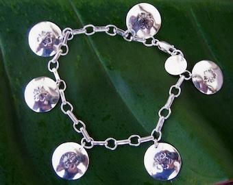 Silver Charm Bracelet, Charm Bracelet, Boho Bracelet. Silver Bracelet, Sterling Charm Bracelet, Hibiscus Charm Bracelet