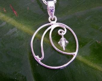 Silver Wave Pendant, Surfer Necklace, Crystal Necklace