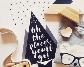 Oh The Places You'll Go Print Dr Seuss Print, Dr Suess Quote, Hot Air Balloon Nursery Print, Balloon Print