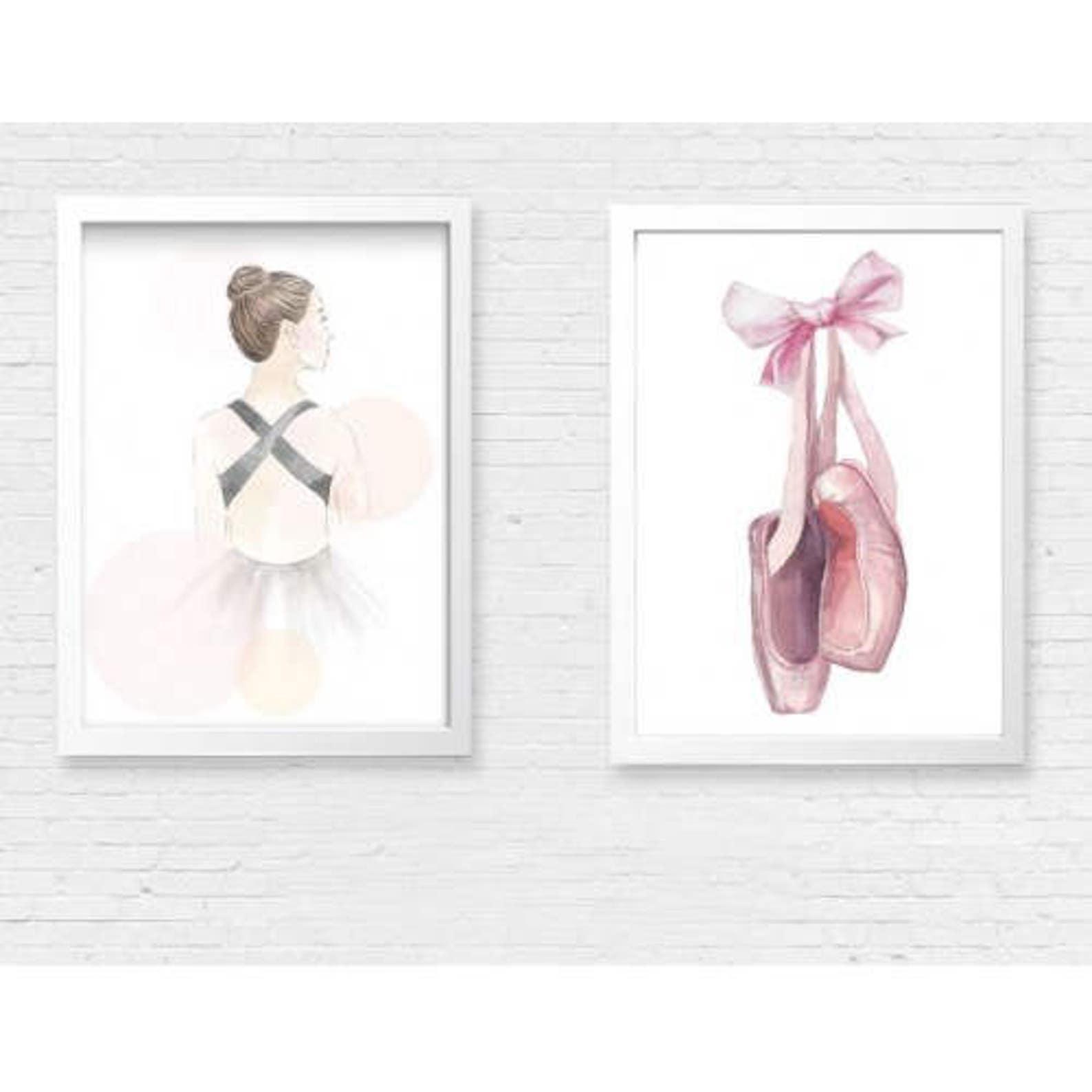 ballet print, ballet shoes print, pink ballerina print, girls ballerina print, ballerina nursery print