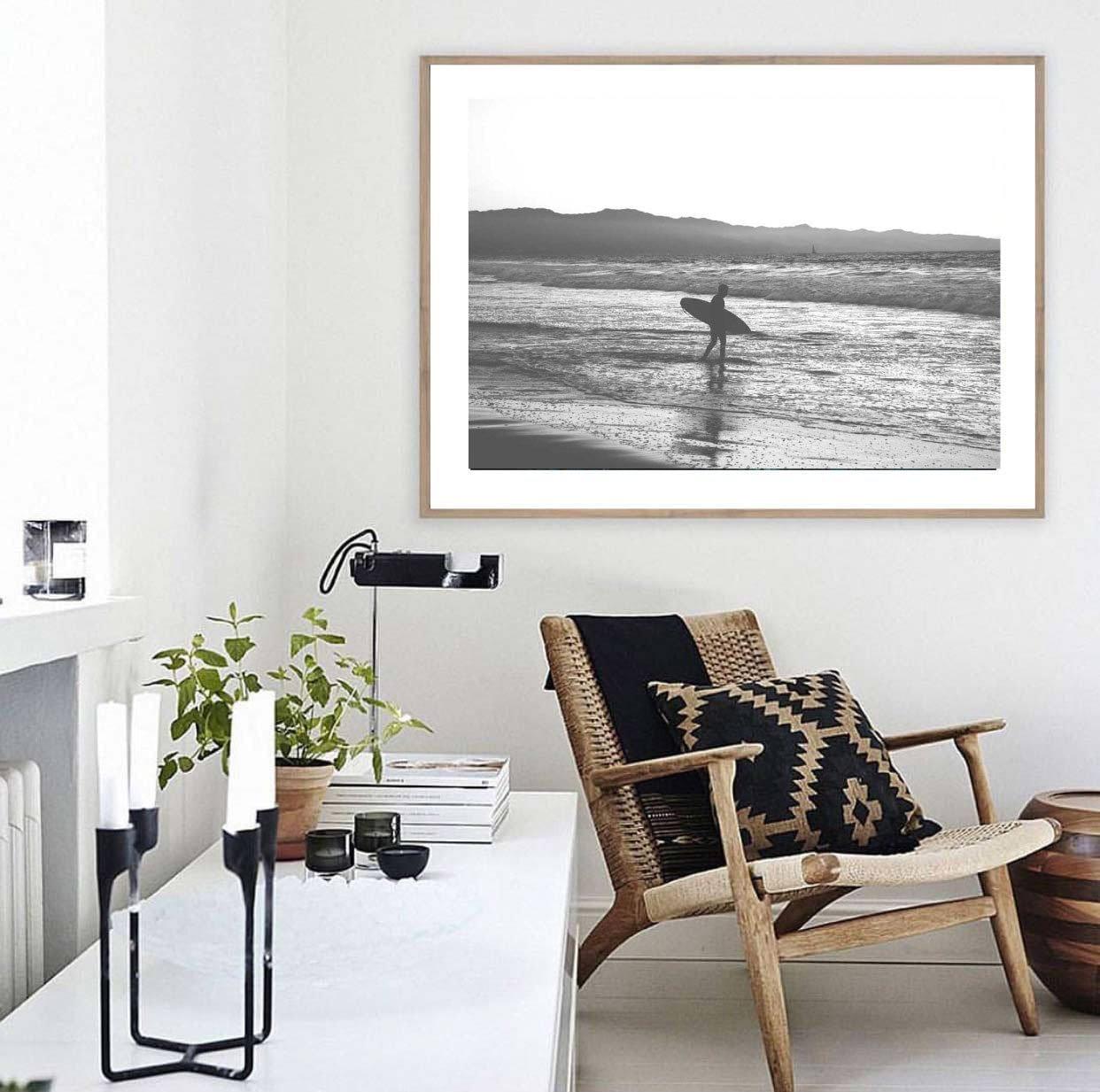 Surfer-Fotografie-Druck schwarz und weiß-Strand-Druck   Etsy