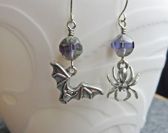 Spider and Bat Earrings