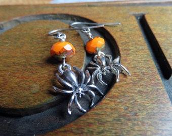 Orange Spider Earrings