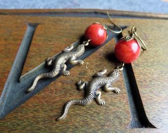 Lizard and Apple Earrings