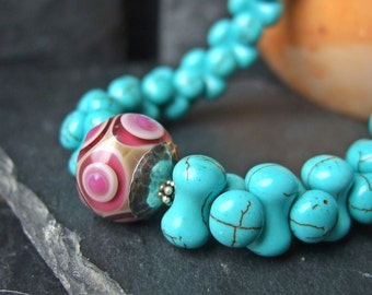 Opposites Attract - Boro Glass Disc and Turquoise Howlite Necklace.