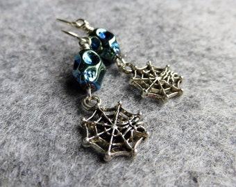Skull and Web Earrings