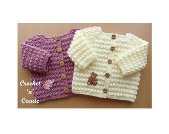 Knobbly Baby Cardi Crochet Pattern (DOWNLOAD) CNC39