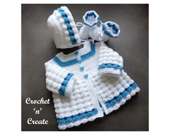 Crochet Raised Shell Baby Outfit Crochet Pattern (DOWNLOAD) CNC213
