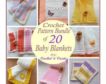 Crochet Pattern Bundle of 20 Baby Blankets CNC-b