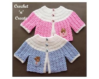 Crochet Baby Sweater Crochet Pattern (DOWNLOAD) CNC253