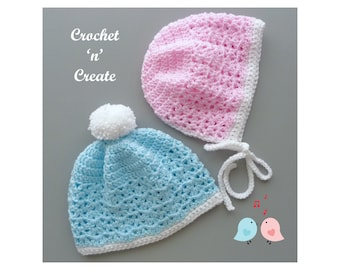 Crochet His and Hers Baby Hats Crochet Pattern (DOWNLOAD) CNC337