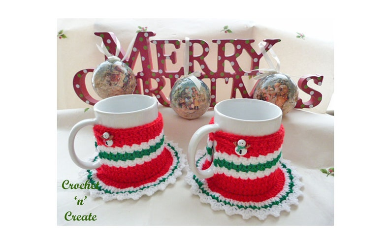 Crochet Christmas Coaster Mug Cozy Crochet Pattern Download Etsy