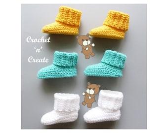 Crochet Rib Cuff Baby Booties Crochet Pattern (DOWNLOAD) CNC320