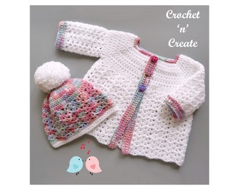 Crochet Baby Cardigan and hat Crochet Pattern (DOWNLOAD) CNC359
