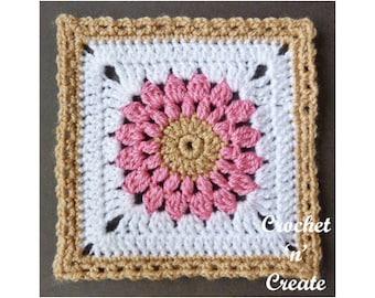 Crochet Blanket Afghan Square Crochet Pattern (DOWNLOAD) CNC109