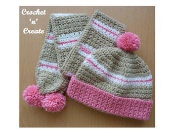 Crochet Child's Hat and Scarf Crochet Pattern (DOWNLOAD) CNC83