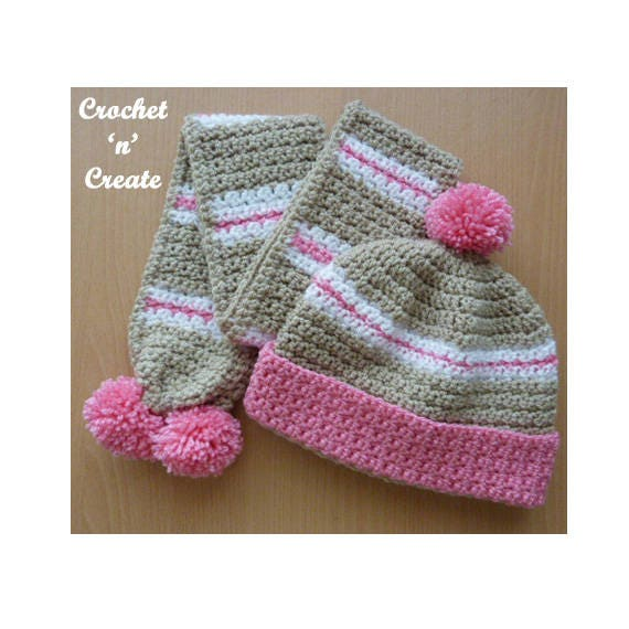 Crochet Childs Hat And Scarf Crochet Pattern Download Etsy