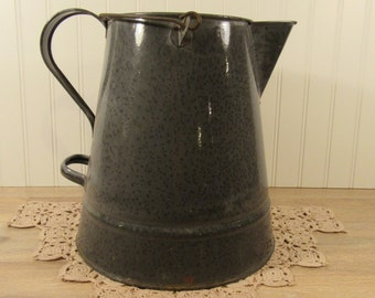 Large vintage graniteware enamelware pitcher with spout, side handle and swing metal handle- beautiful- solid- great home decor
